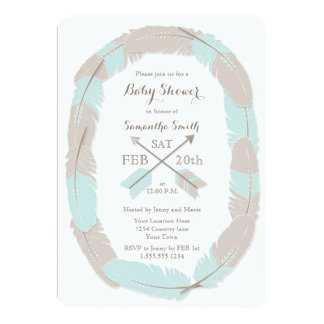 Boho Feather and Arrow Blue Baby Shower Invitation