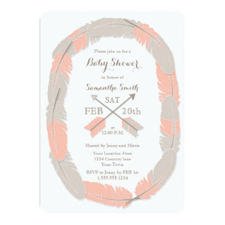 Boho Feather and Arrow Girl Baby Shower Invitation