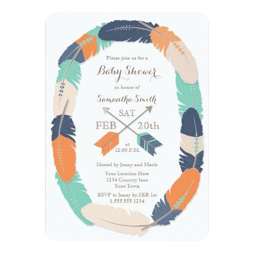 Boho Feather & Arrow Navy Orange Teal Baby Shower Card
