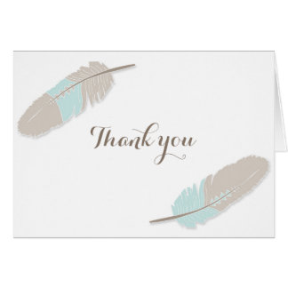 Boho Feather Baby Shower Thank You Blue Grey Card