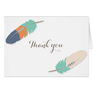 Boho Feather Baby Shower Thank You Navy Orange Card