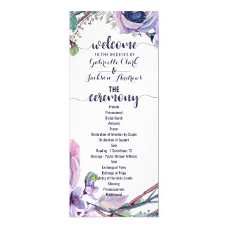 Boho Feather & Floral Wreath Wedding Program