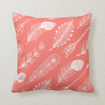 Boho Feather Pattern Live Coral Throw Pillow