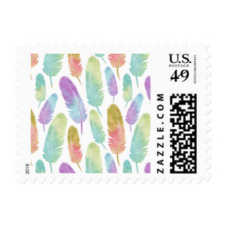 Boho Feather Pattern Rainbow Watercolor Postage