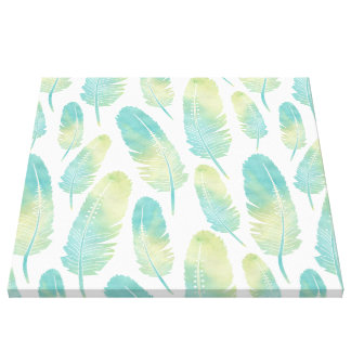 Boho Feather Pattern Watercolor Green and Teal Canvas Print