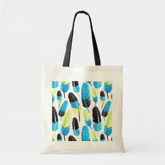 Boho Feather Pattern Watercolor Neon Blue and Gree Budget Tote Bag