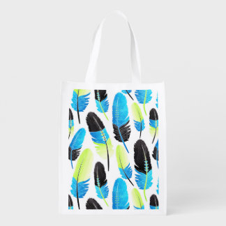 Boho Feather Pattern Watercolor Neon Blue and Gree Grocery Bags