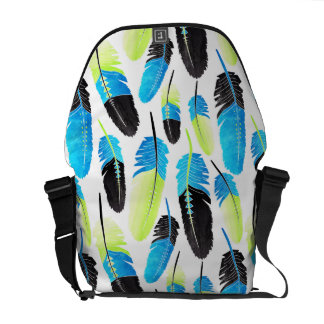 Boho Feather Pattern Watercolor Neon Blue and Gree Messenger Bags