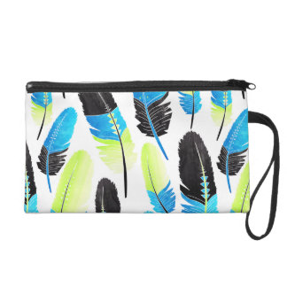 Boho Feather Pattern Watercolor Neon Blue and Gree Wristlet