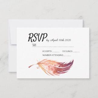 Boho Feather RSVP cards