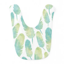 Boho Feather Watercolor Green and Blue Pattern Bib