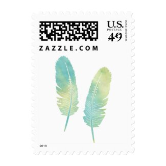 Boho Feather Watercolor Green and Blue Postage Stamps at UniqueRusticWeddingInvitations.com