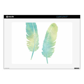 Boho Feather Watercolor Green and Blue Skin For Laptop