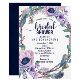 Boho Feather Wreath Bridal Shower Invitation