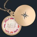 """Boho feather wreath monogram locket necklace<br><div class=""""desc"""">Boho feather wreath monogram</div>"""