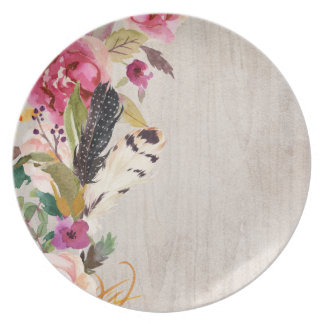 Boho Feathers and Flowers Dinner Plates