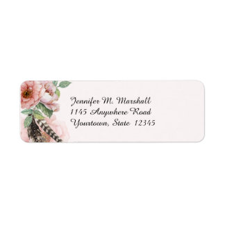 Boho Feathers and Flowers Label