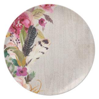 Boho Feathers and Flowers Melamine Plate