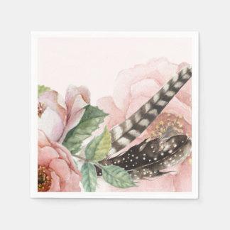 Boho Feathers and Flowers Napkin