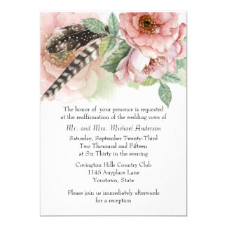 Boho Feathers and Flowers Vow Renewal Card