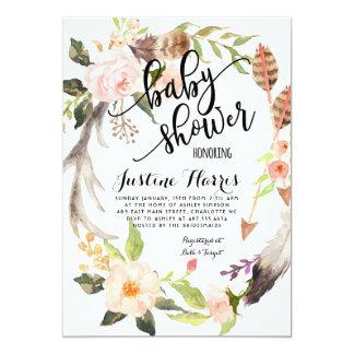 Boho feathers Baby Shower Invitation