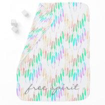 Boho Feathers Bohemian Multicolor Long Tail Bird Baby Blanket
