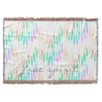 Boho Feathers Bohemian Multicolor Long Tail Bird Throw Blanket