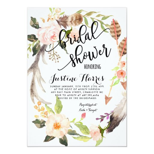 Boho feathers Bridal Shower Invitation