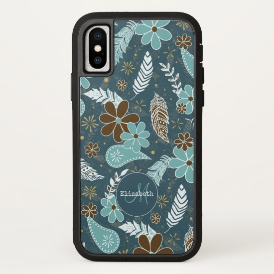 Boho feathers doodle flowers teal turquoise brown iPhone x case
