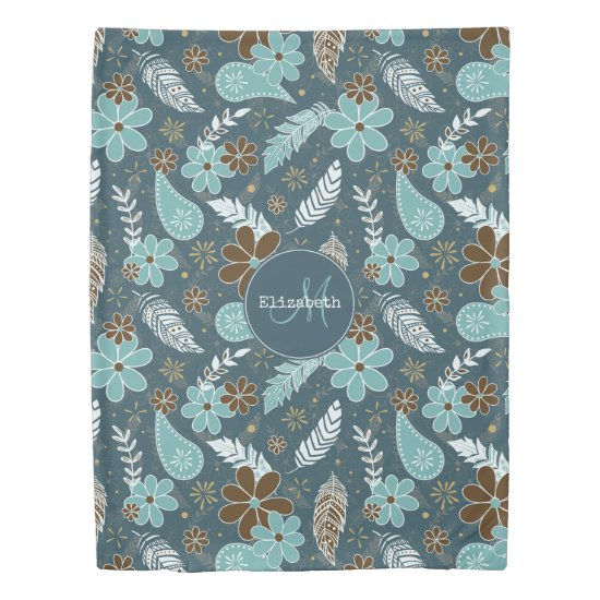 Boho feathers doodle flowers teal turquoise brown duvet cover