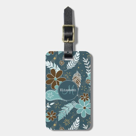 Boho feathers doodle flowers teal turquoise brown luggage tag