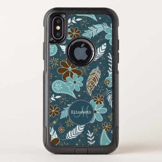 Boho feathers doodle flowers teal turquoise brown OtterBox commuter iPhone x case