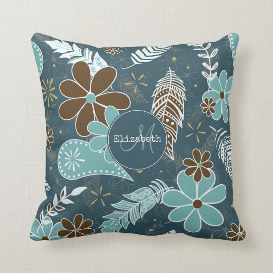 Boho feathers doodle flowers teal turquoise brown throw pillow