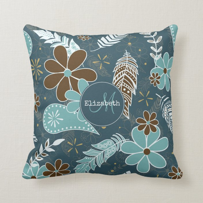Boho Feathers Doodle Flowers Teal Turquoise Brown Throw Pillow Zazzle Com