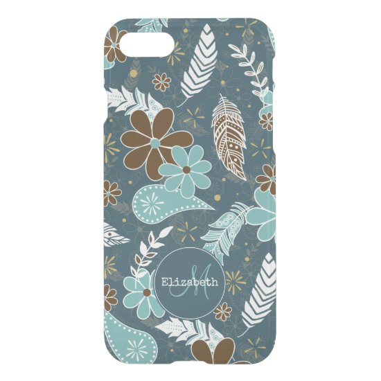 Boho feathers doodle flowers teal turquoise brown iPhone SE/8/7 case
