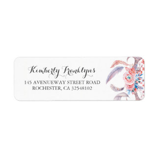 boho feathers floral watercolor wedding label