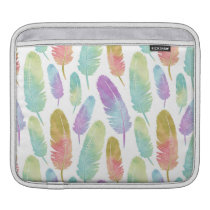 Boho Feathers Pattern Rainbow Watercolor Sleeve For iPads