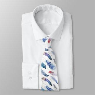 Boho Feathers Watercolor Pattern Neck Tie