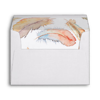 boho feathers watercolor wedding envelope