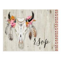 Boho Floral Antler Skull Rustic Wood RSVP Wedding Postcard