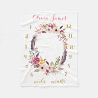 Boho Floral Baby Milestone Monthly Baby Blanket