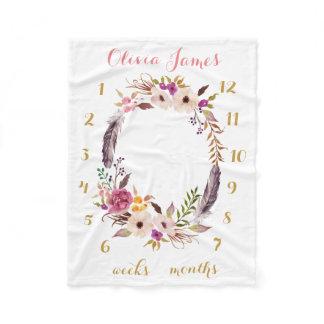 Boho Floral Baby Milestone Monthly Baby Blanket