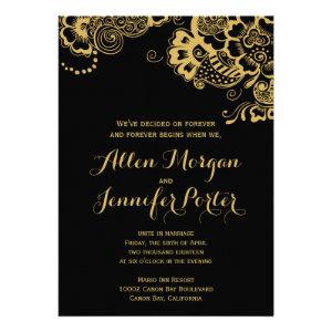 Boho Floral Black and Gold Invitation