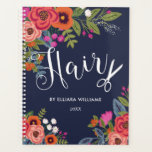 "Boho Floral Bouquets - Navy Blue Hair Stylist Planner<br><div class=""desc"">Spiral planner or appointment book with Hair written in a pretty script,  a pair of white scissors,  and  lovely bohemian flower bouquets of orange pansies and pink and red roses.</div>"