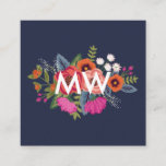 """Boho Floral Bouquets - Navy Blue - Monogram Square Business Card<br><div class=""""desc"""">Monogrammed square business card in dark blue for an interior designer,  event stylist,  makeup artist or similar,  featuring your initials in white atop a hand-drawn flower bouquet in orange,  red,  pink,  and white.</div>"""