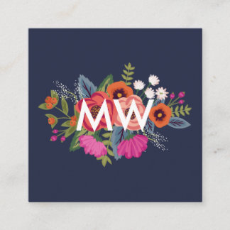 Business cards business card printing zazzle boho floral pattern navy and coral business card reheart Choice Image