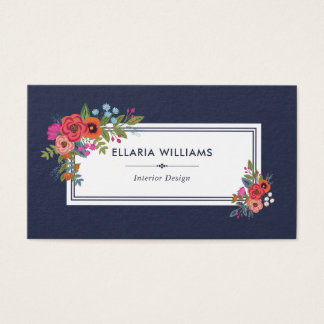 Boho Floral Bouquets - Navy Blue & White Business Card