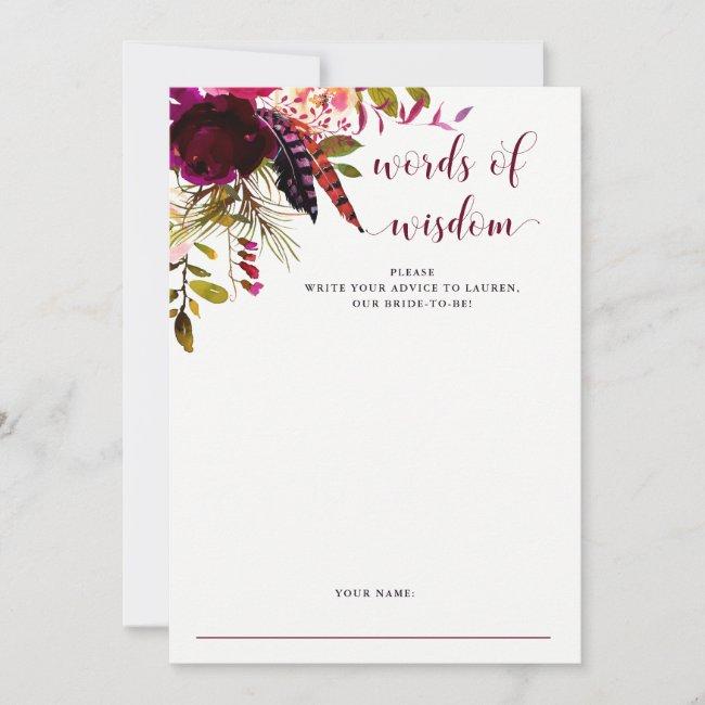 Boho Floral | Bridal Shower Advice Card