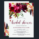 "Boho Floral | Bridal Shower Invitation<br><div class=""desc"">This trendy bridal shower invitation features pretty watercolor flowers in vibrant shades of marsala,  wine,  deep green,  red,  and purple,  and matching modern typography.</div>"