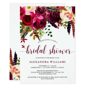 boho floral bridal shower invitation